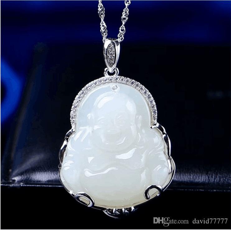 Collana ciondolo in giada collana d'argento 925 sterling silver creativo micro-ridere collana Buddha 45cm pendente Buddha giada hetian