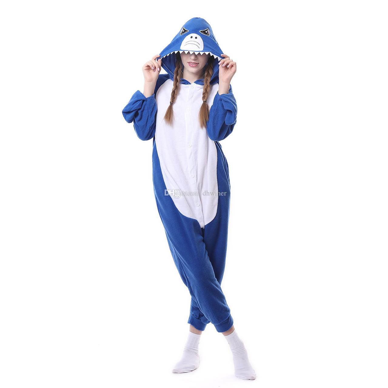 6ab450c284 Unisex Adult OnePiece Onesie Cosplay Costumes Kigurumi Animal Outfit  Loungewear Shark Superman Costume Halloween Costumes For Couples From  Dhwiner