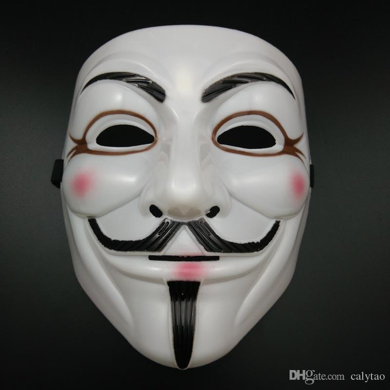 en venta White V Mask Halloween Máscaras Sexy Eyeline Anonymous Vendetta Party mask Guy Fawkes Máscara Full Face Horror mask super Scary