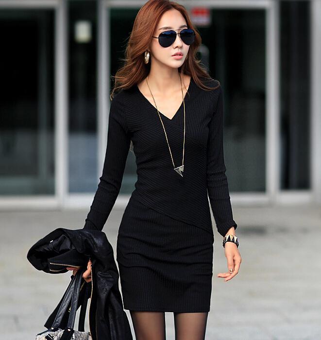130ad1ba5 Compre Vestido Negro   Gris High Street Fashion Bodycon Vestido Negro Con  Cuello En V Wrap Vestidos Delanteros Mujeres Otoño De Manga Larga Que Basa  La ...