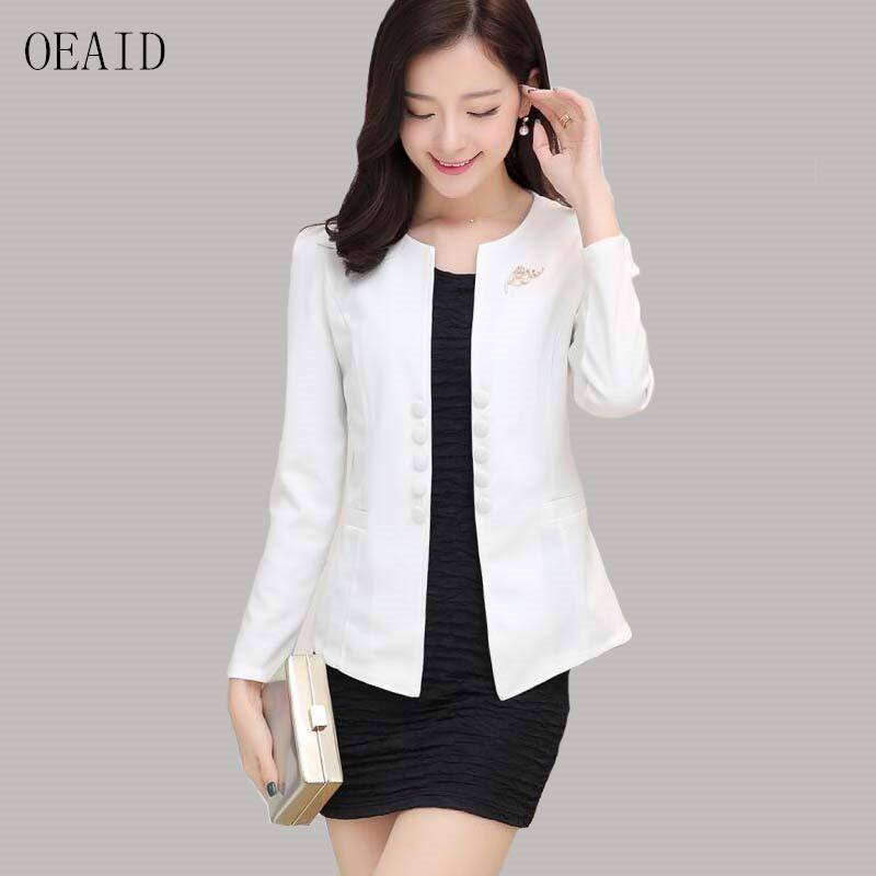 d57a26548 OEAID Plus Size Blazer Mujer 2017 Nueva Moda Traje Ropa de Mujer Corto  Delgado Chaqueta de Primavera y Otoño Chaqueta de Abrigo Femenino