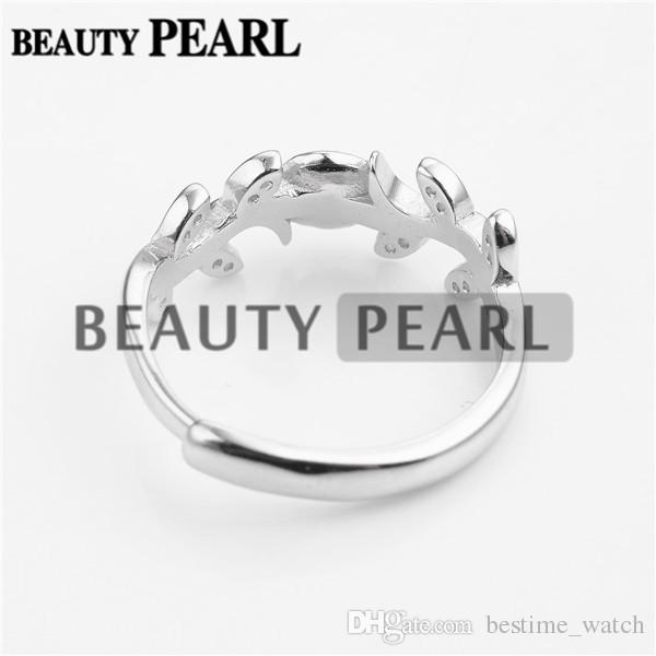 HOPEARL Jewelry Ring Findings Leaves Design Zircon 925 Sterling Silver for DIY Jewellery Making