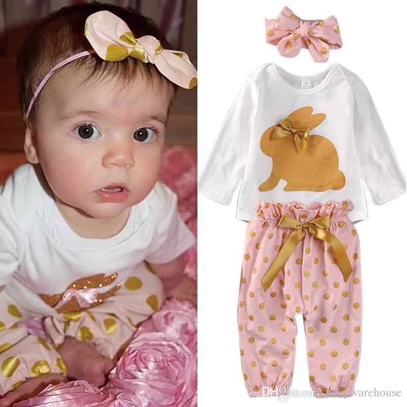 Nette Kinder Kleidung Neugeborenes Baby Kleidung Stirnband Kaninchen Strampler Polka Dot Hosen Hosen 3 STÜCKE Infant Outfits Kinder Kleidung Set 0-18 Mt
