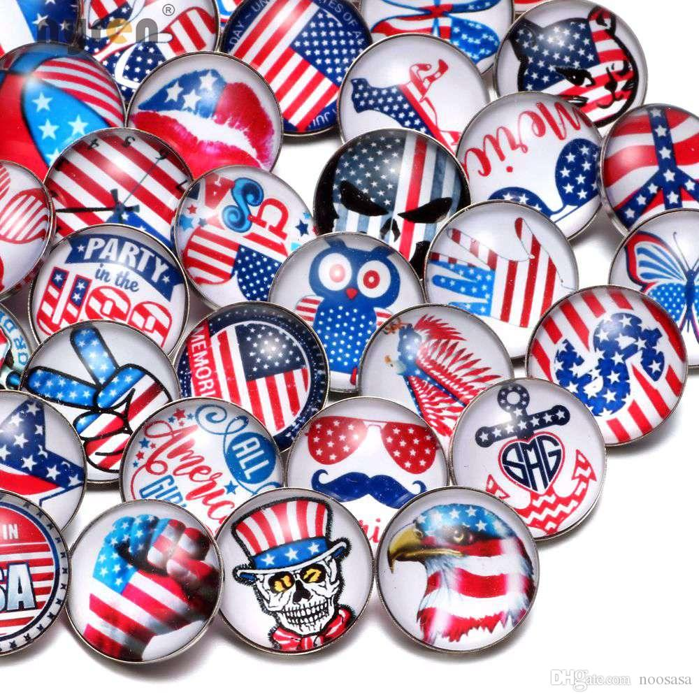Wholesale 50pcs/Lot Mixed USA Symbol Pattern Multi 18mm Glass Snap Button Jewelry Faceted Glass Snaps Fit Bracelet Ginger Snap Jewelry