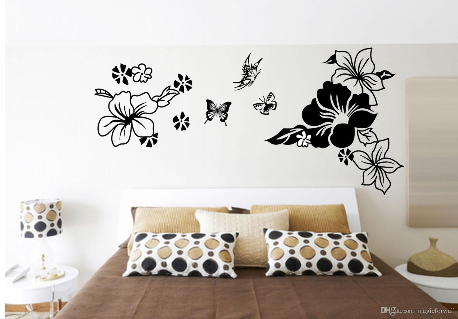 Acheter Fleurs Noires Papillon Art Decor Tête De Lit Autocollant  Autocollant Chambre Décoration Papier Peint Affiche Salle De Mariage Art  Décalque De