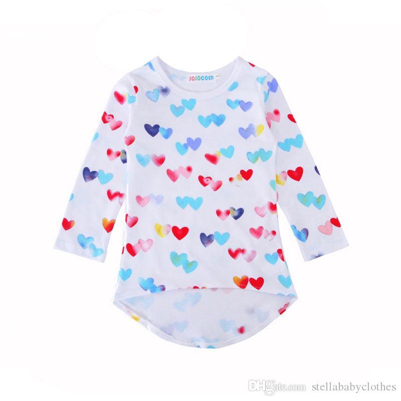 Colorido Amor Corazón Imprimir Baby Girls Vestidos 2018 Nueva Posh de Dibujos Animados Impreso Ropa de Niños Ventas Calientes Ropa de Boutique para Niños
