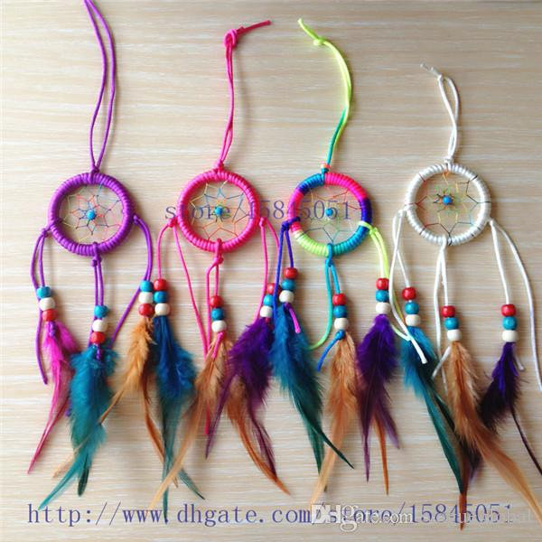 6CM Diameter Dream Catcher Decor Car And Home Decoration Birthday Party Gifts Handmade Indian Feather 12pcs Lot