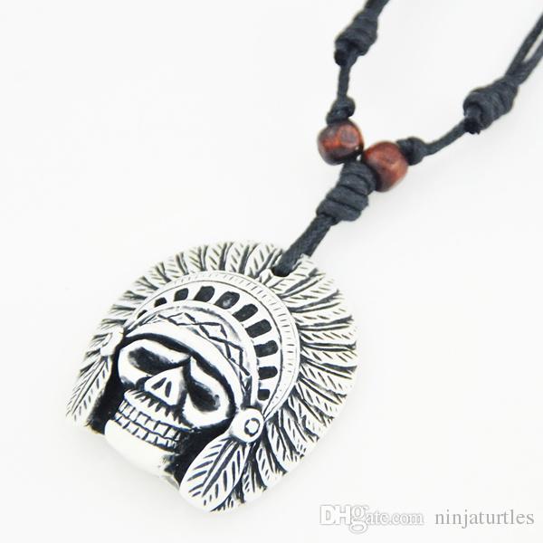 Imitation Yak Bone Carved Tribal Head Skull Pendants Adjustable Rope Necklace Halloween gift
