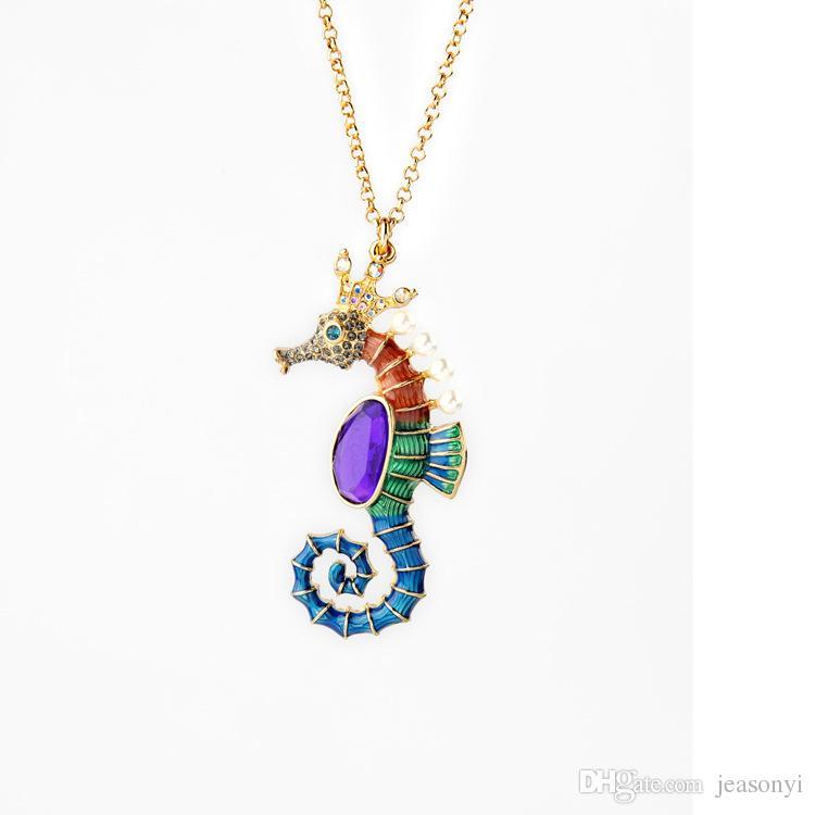 2016 color enamel sea horse pendant necklace shape bevel amethyst enamel sea horse pendant necklace shape bevel amethyst necklaces with pearl and crystal charms aloadofball Images