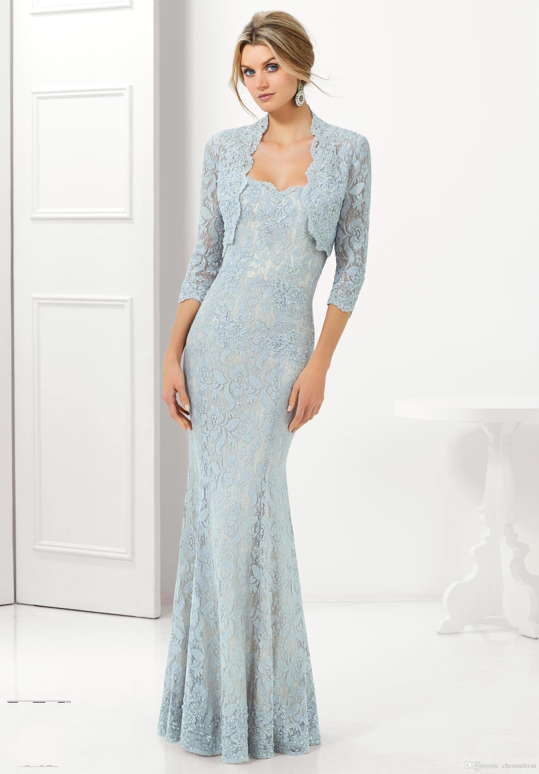 2015 Mermaid Light Blue Lace Mother Of The Bride Dresses With Jacket ...