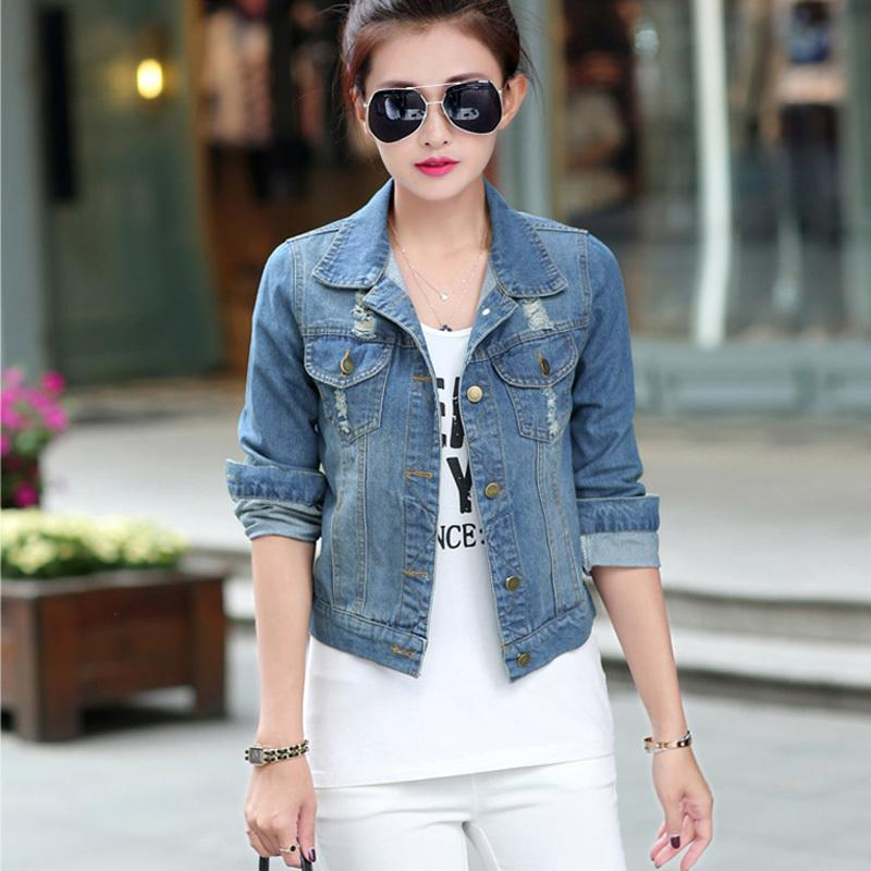 Spring New Fashion 2016 Women'S Denim Jacket Retro Full Sleeve ...