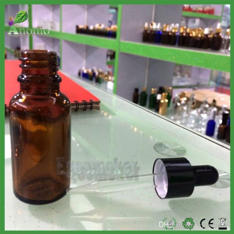 Fedex Free Glass Bottle E-liquid Brown Dropper Bottles With Sharp Dropper Cap 5ml 10ml 15ml 30ml Glass Empty Bottles