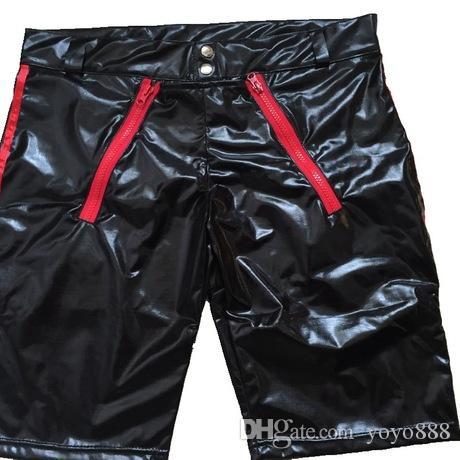 Neue Erotische Herren Leder Shorts Dessous Sexy Boxer Schwarz Kunstleder PU Shorts Für Männer Unterwäsche Unterhose X669