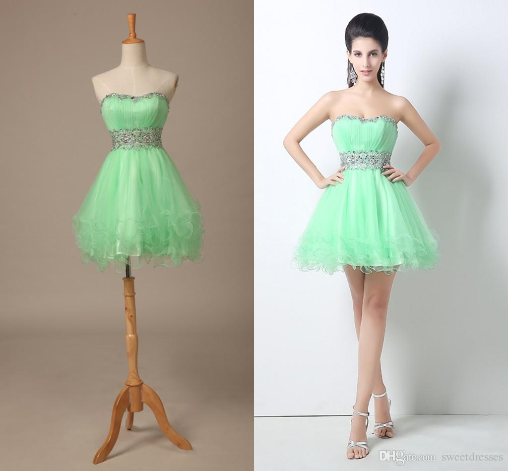 Mint Green Short Prom Dresses Strapless A Line Mini Homecoming ...