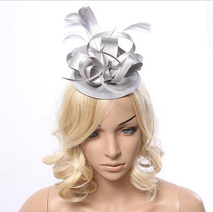 Wholesale stock shiny silver navy blue satin bridal hats fascinator black  champagne ladies hats feathers women wedding hats 6b0d72f1ea7