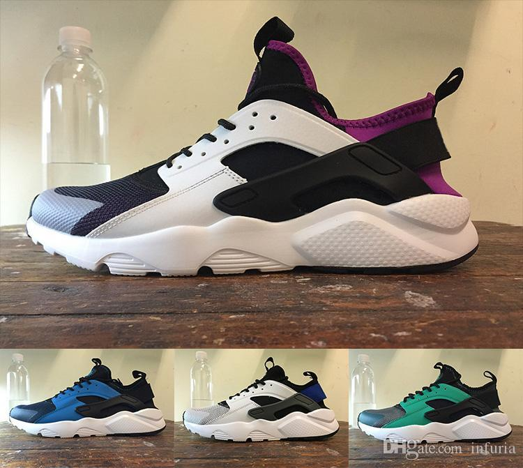 Newest Huarache 4 IV Running Shoes For Men Women, Black White Grey High Quality Sneakers Triple Huaraches Jogging Sports Shoes Eur 36-44