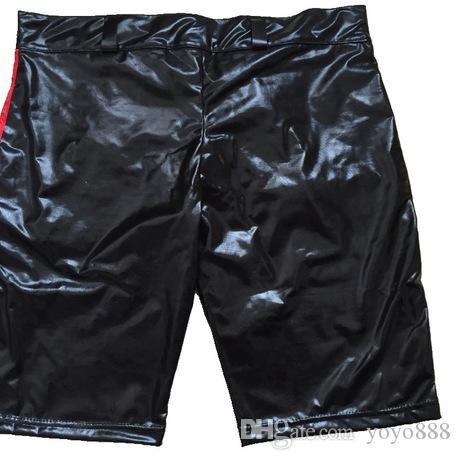 Nouveau Erotic Hommes Shorts En Cuir Lingerie Sexy Boxers Noir Faux Cuir PU Shorts Pour Sous-Vêtements Mâle Sous-Vêtements X669