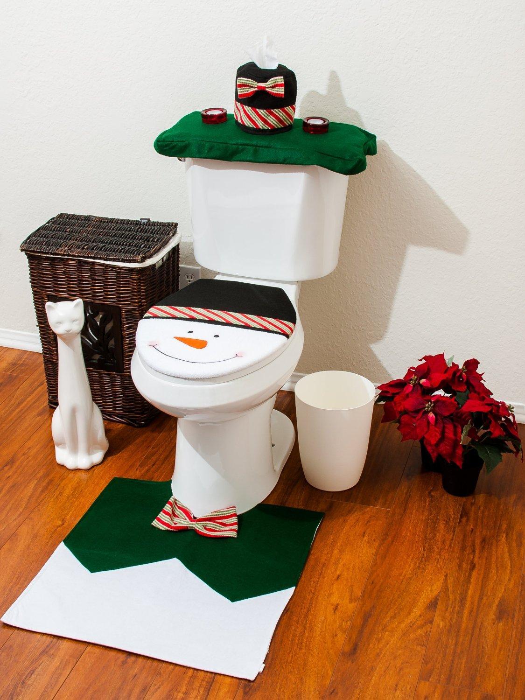 Christmas łazienki WC pokrywa i dywanowa zestaw - Zielony Snowman 3 Sztuk Set Great Christmas Festival Home Decoration