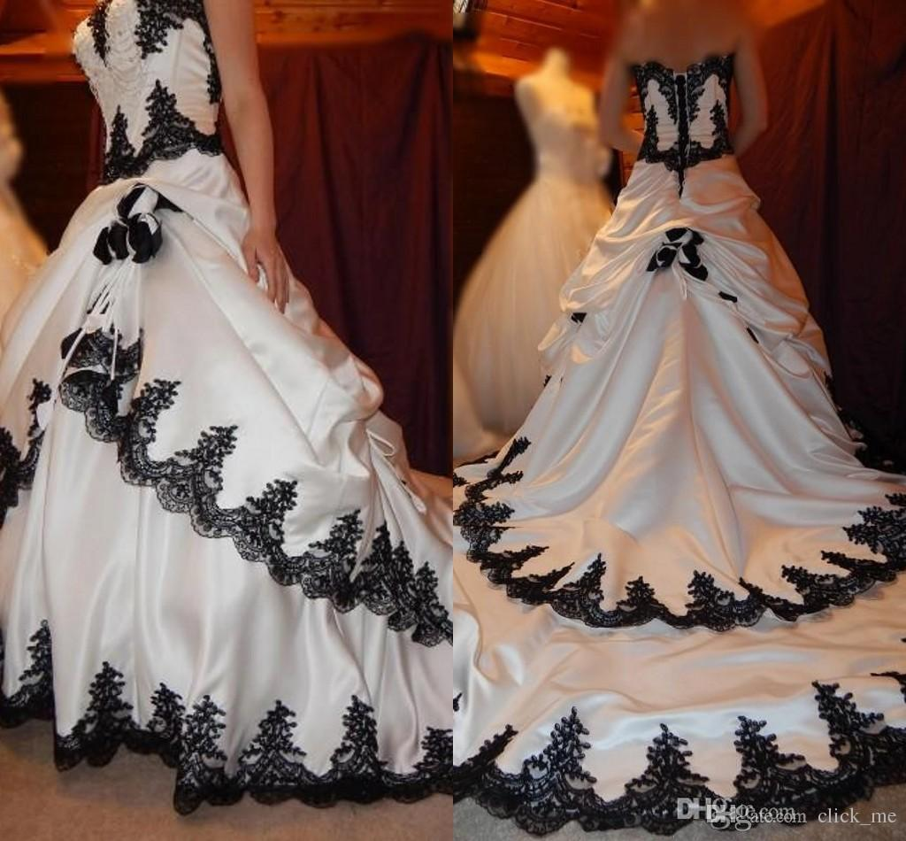 97acf989eb4 Discount Black And White Wedding Dresses 2016 Gothic Lace Applique Tiered  Pageant Bridal Dress Long Back Lace Up Satin Elegant Bridal Wedding Gowns  Chiffon ...