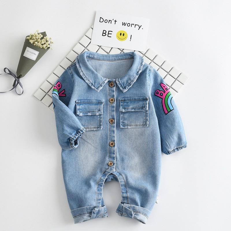 e6636cd7c154 2019 Kawaii Rainbow Pringting Newborn Baby Clothes Denim Baby Girls ...