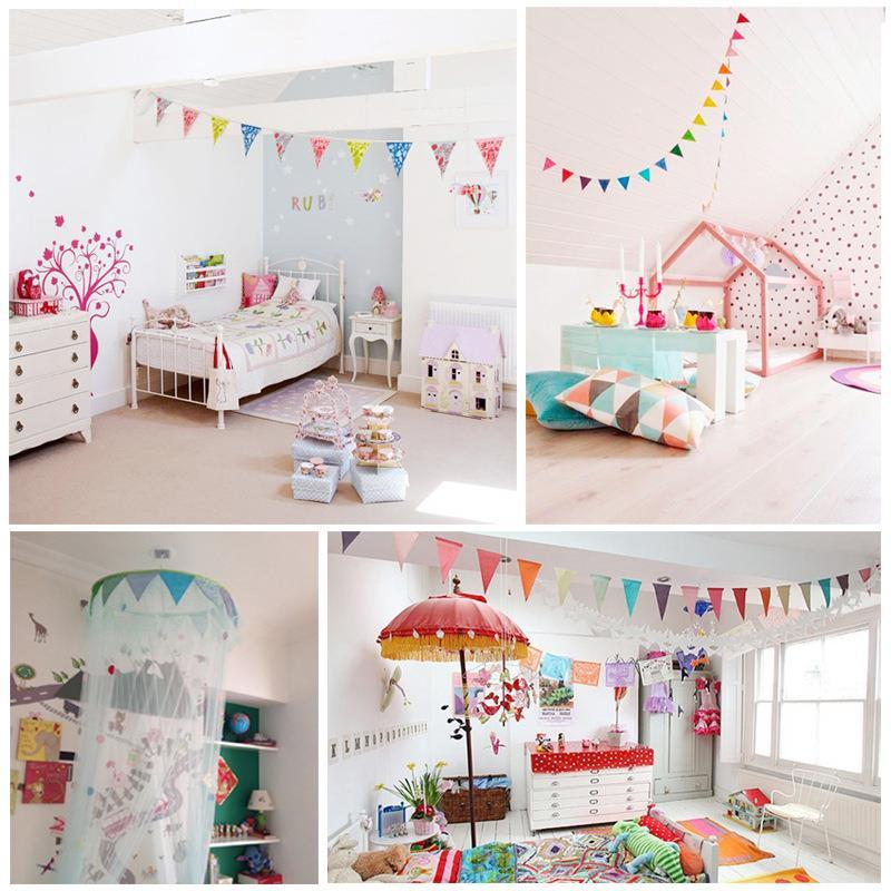 2018 Childrenu0027S Room Decor Triangular Flags Garland String Flag Banners  Floral Pastoral Section Birthday Party Party Venue Supplies From Naland, ...