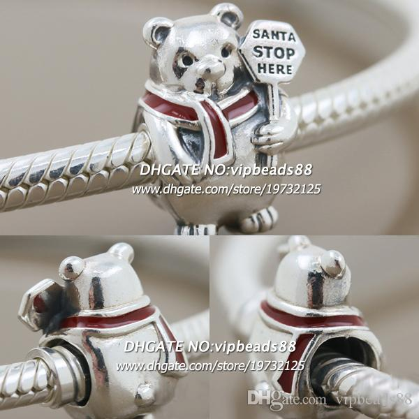 New 2017 Winter S925 Sterling Silver Christmas Polar Bear Enamel Charm bead For Pandora charm Bracelets Beads & Jewelry Making