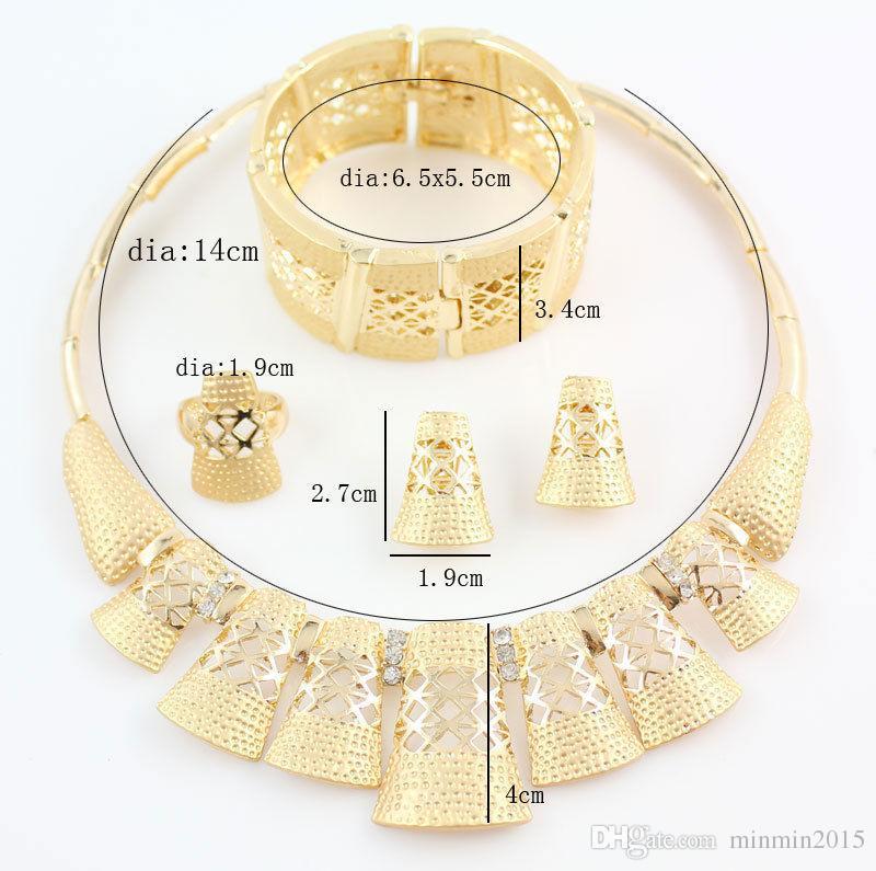 Moda Kadınlar Düğün Afrika Takı 18 K Altın Kaplama Rhinestone Kristal Yüksek Kalite Bildirimi Kolye Yüzük Küpe Bilezik Takı Setleri