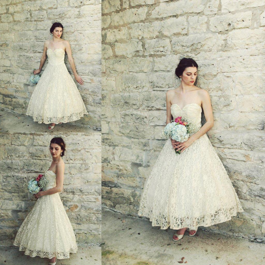 Vintage 1950s Tea Length Wedding Dresses Antique Ivory Lace A-line ...