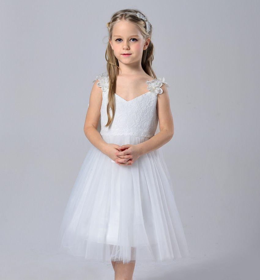 Blumenmädchen Prinzessin Kleid Kid Party Pageant Hochzeit Brautjungfer Tutu Kleider Mädchen Kleid Lange Vintage Lace Dance Party Kleid Geburtstag