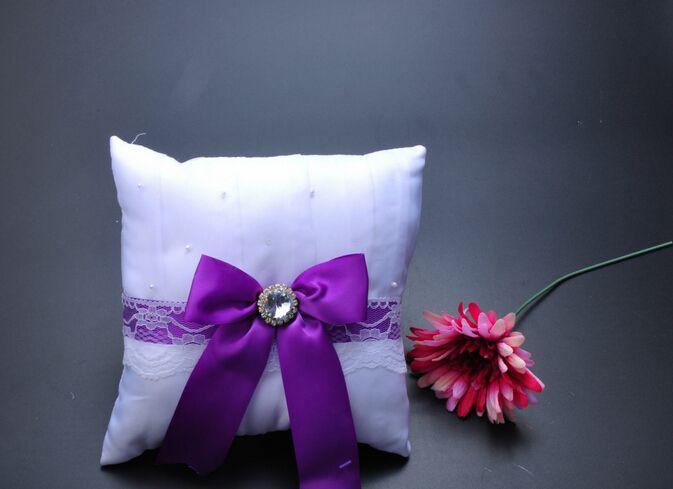 Square crystal Rhinestone Bucket Satin With Purple Bow Bridal Ring Bearer Pillow Beaded Wedding Ceremony Favors Box