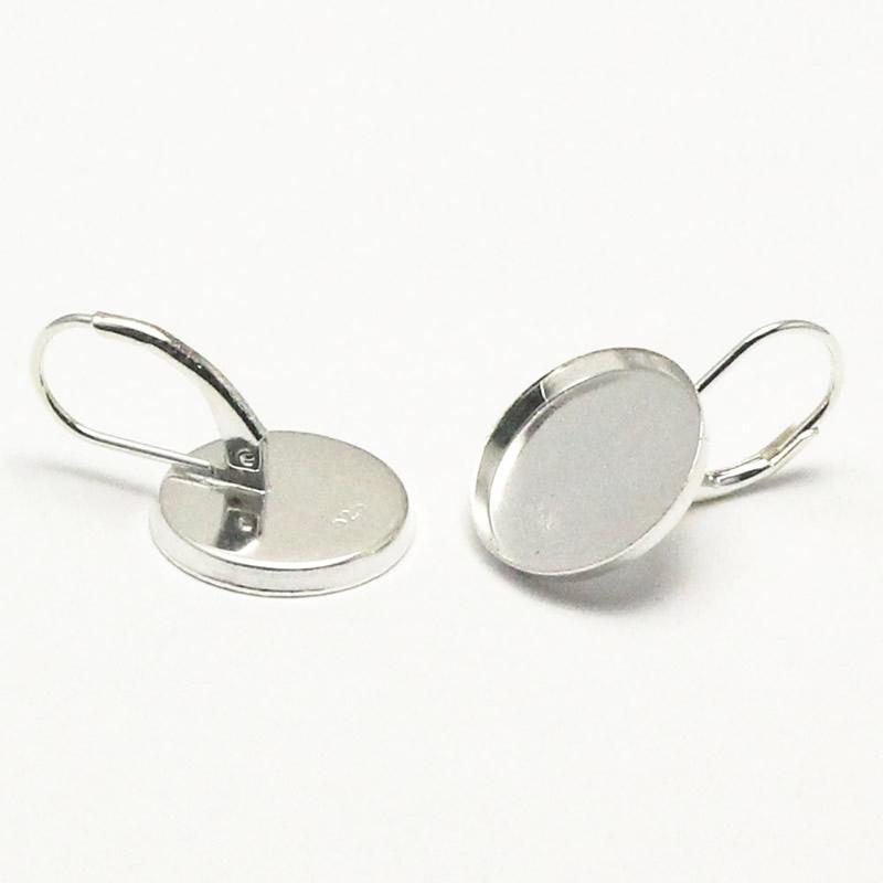 Beadsnice sterling silver earring bezel tray 14 mm blanks bezel earrings tray inner diameter 13 mm ID 27046