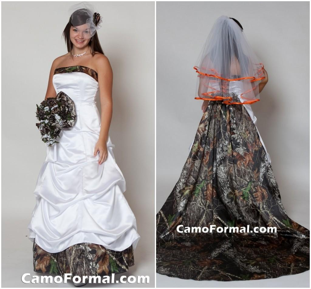 Discount 2015 White Camo Wedding Dress With Long Detachable Train ...