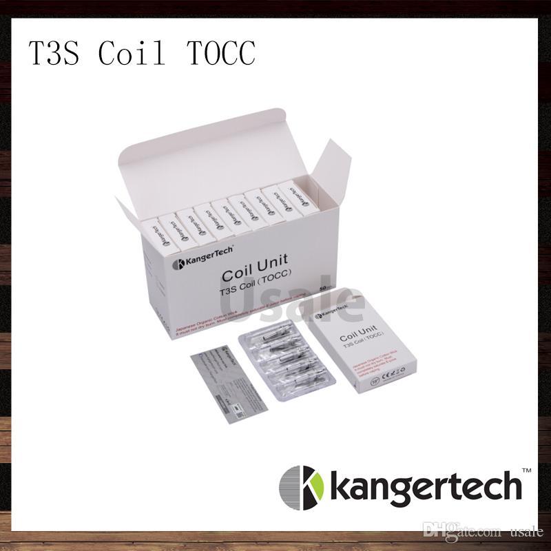 Kanger T3S Coil Unidade TOCC Kangertech T3S CC Limpar Cartomizer Cabeça Bobinas de Substituição 1.5 1.8 2.2 2.5 ohm Bobinas Para T3S Atomizador 100% Original