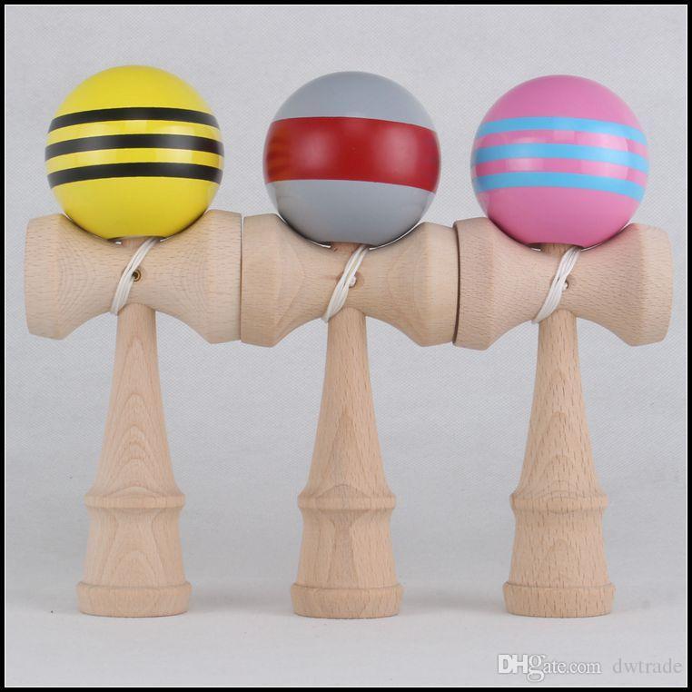18.5 CM большой размер kendama бал японской традиционной древесины игры игрушка образование подарок в полоску цвета новинка игрушки подарок J071507#