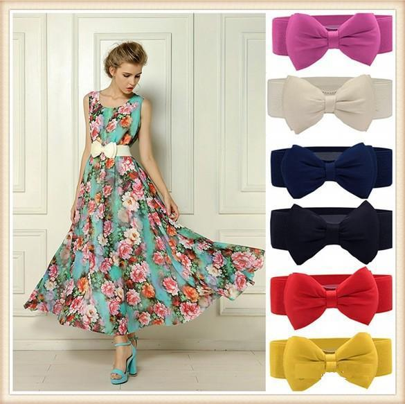 Wholesale-Freeship Newest Fashion Sweet Women Bowknot Elastic Belt Bow Wide Stretch with Buckle Waistband Wide Elastic Belt