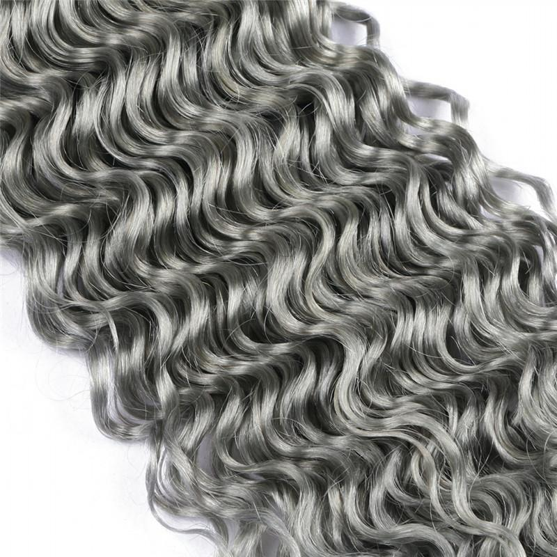 Silver Grey Malaysian Deep Wave Human Hair Bundle Deals Pure Grey Color Virgin Malaysian Remy Human Hair Weaves Extensions 10-30""