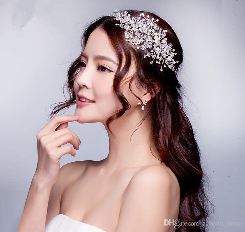 2019 Abiti da sposa Abiti da sposa Accessori capelli Corea Shining Wedding Bridal Crystal Velo Faux Perle Tiara Corona Corona Accessori capelli partito