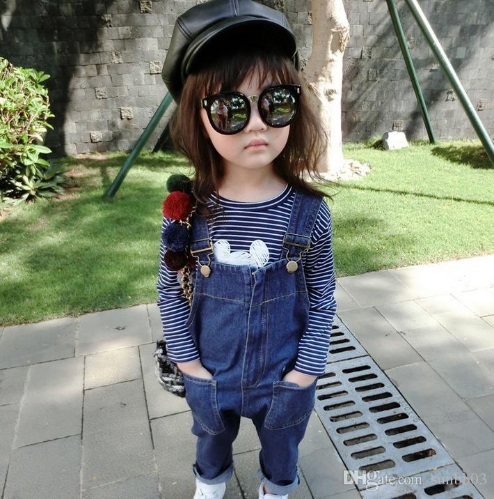 Bahar Bebek Kız Kot Tulumlar Çocuklar Denim Tulumları Çocuk Rahat Kot Askı Pantolon Kot Pantolon Denim Tulum 11303