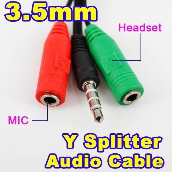 100pcs / lot de 3,5 mm à 3,5 mm Femal Homme Y Splitter Audio Extension Cable Câble AUX