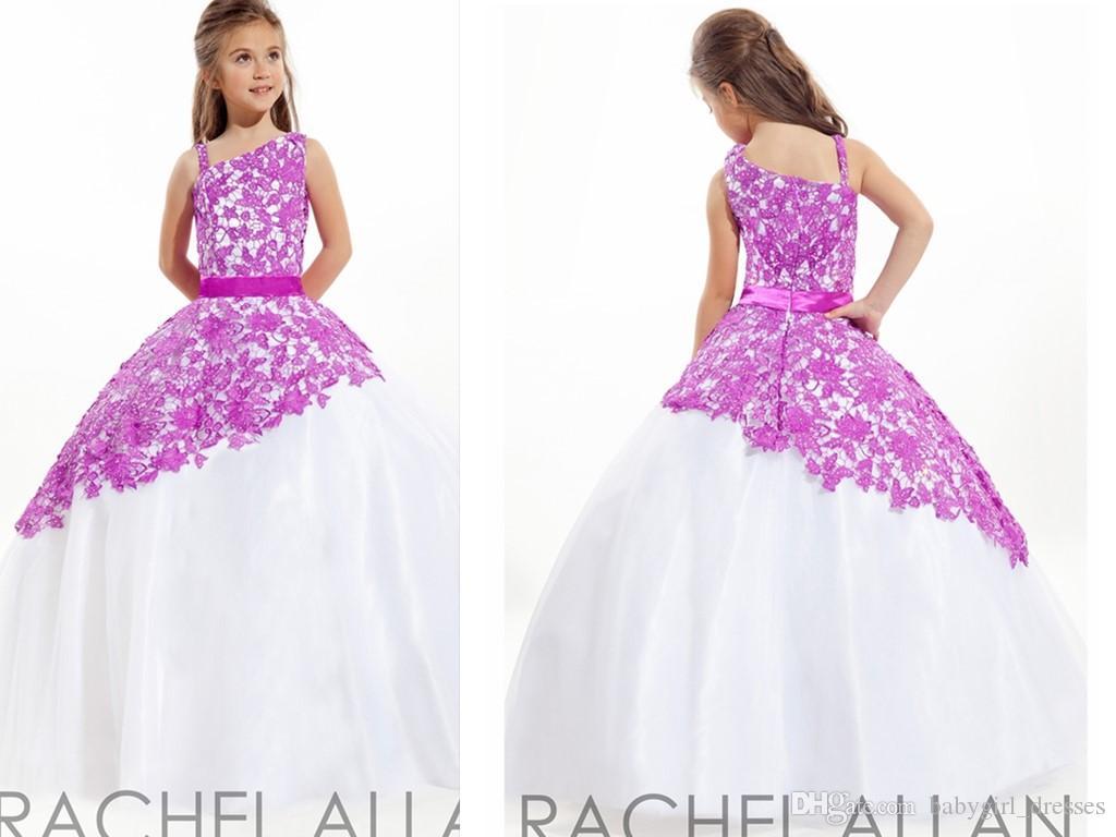 Princess Gowns Purple Flowers Girls Dresses Floor Length Rachel ...