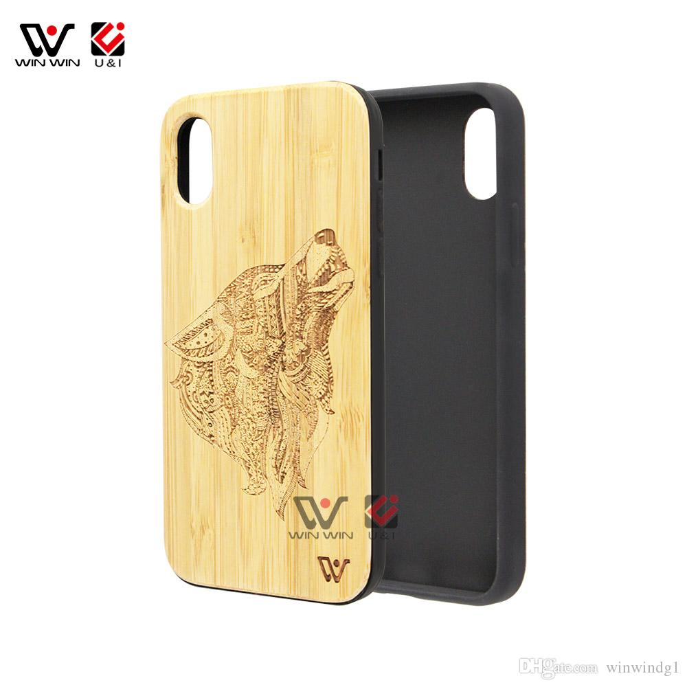 Real bamboo universal wood cell phone cases for iPhone x 8plus 7 6s 7plus TPU rubber coating shockproof brand new Apple back cover