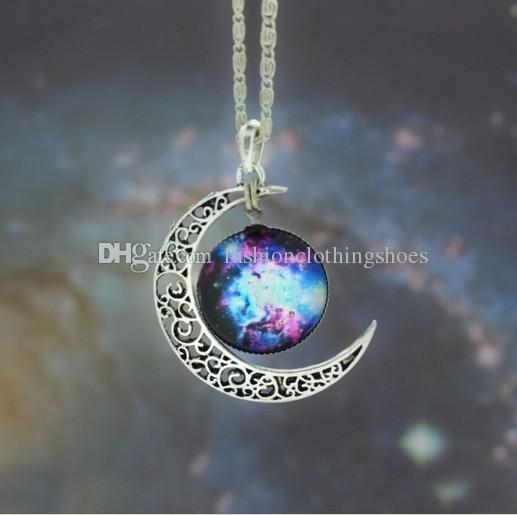 Luna estrellada Espacio exterior Universo Piedras preciosas Collares pendientes Mezclar modelos