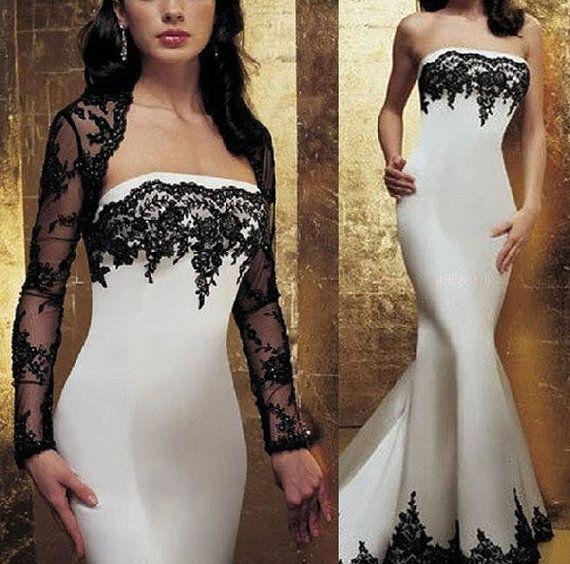 Black And White Gothic Wedding Dress Plus Size Satin: Gothic 2015 Wedding Dresses Black And White Applique