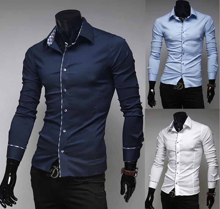 New 2015 Italian Dress Shirts Men'S Blouses Long-Sleeve Shirt Slim ...