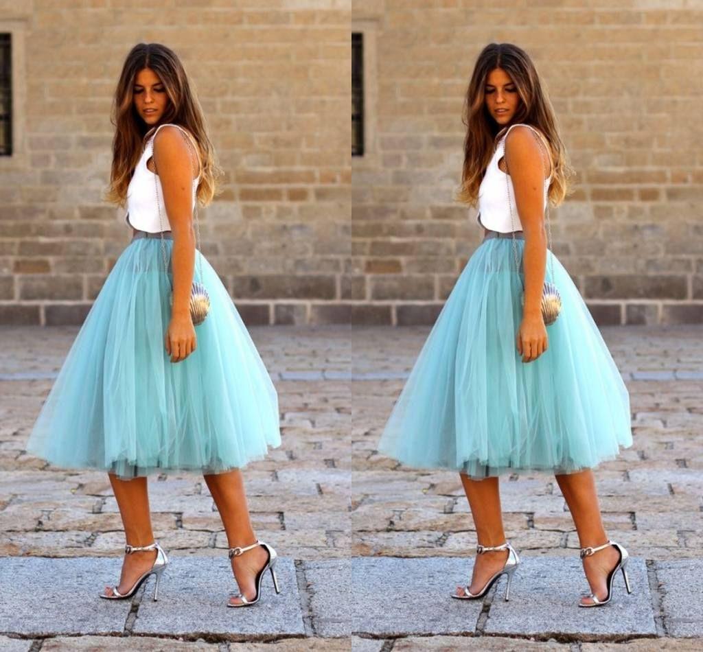 2017 Fashion Short Skirts For Women Knee Length Tulle Blue Tutu ...