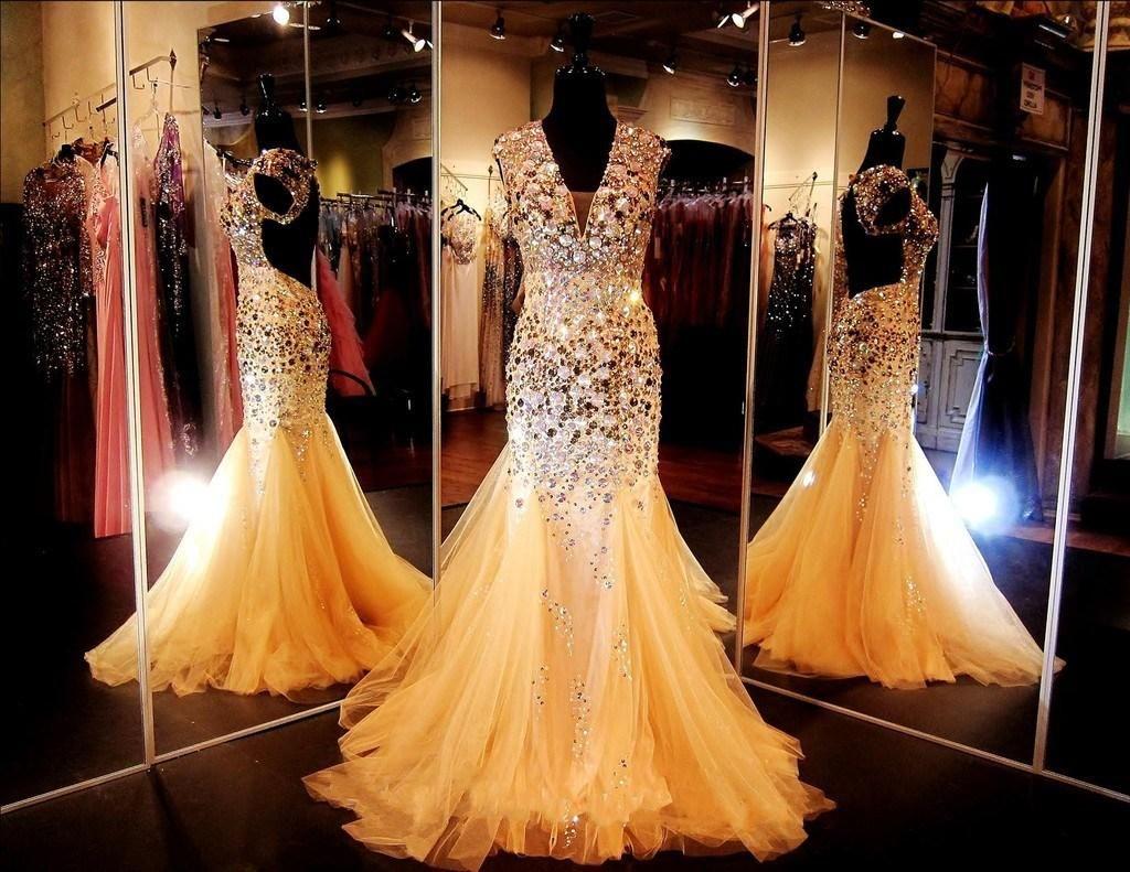 Pageant Glitz Pageant платья с кристаллами V шеи открыты назад сексуальные золотые русалки плюс размер вечерние платья спинки платья выпускного вечера с крышными рукавами