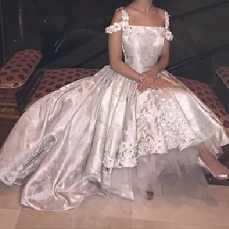 White Vintage Lace Appliques Ball Gown Wedding Dresses Front Short Long Back Crystal 2015 Arabic Wedding Gowns robe de marriage