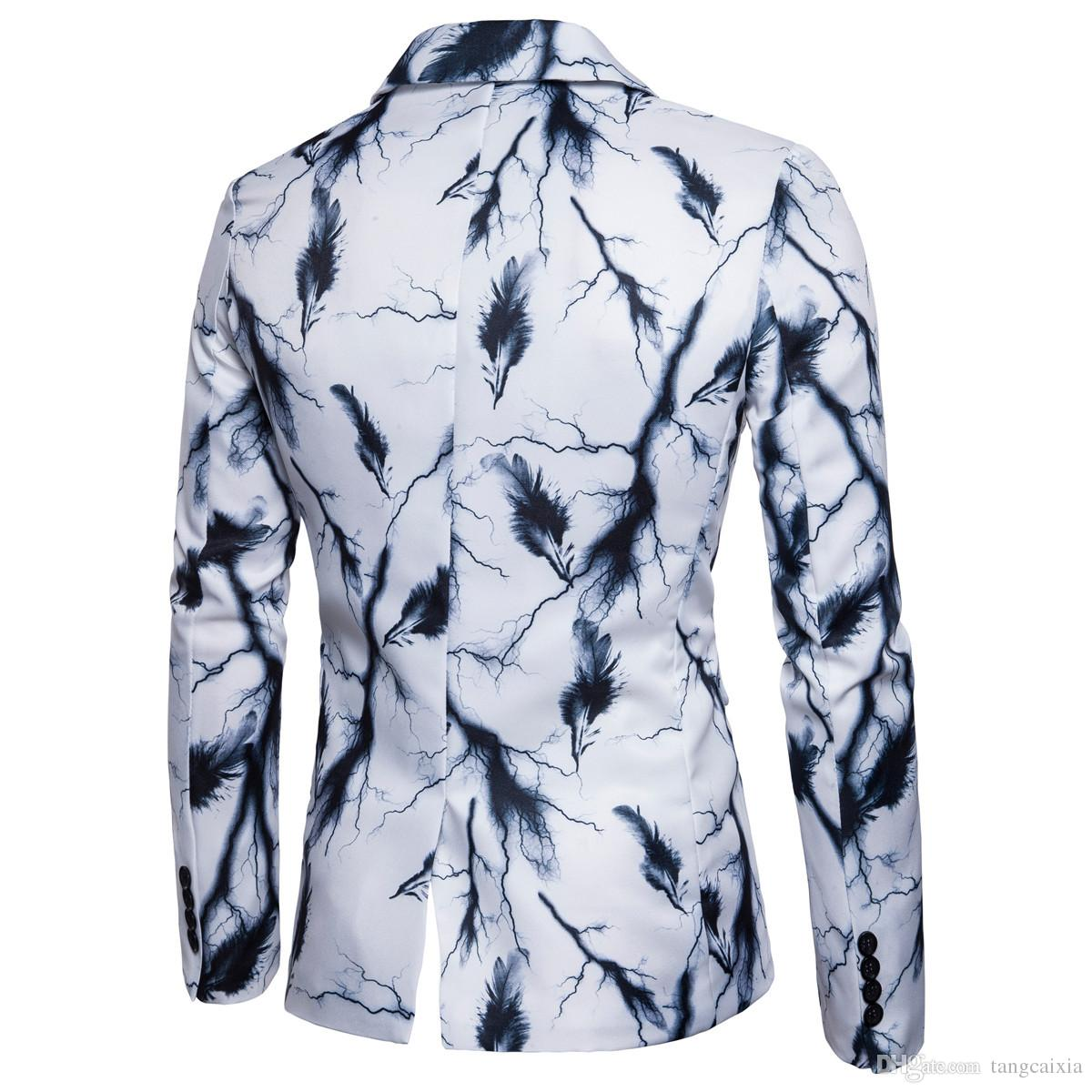 Wholesale Mens Single Button Ink Print Blazers Jacket Chinese Style Painting Vintage Personality Coat