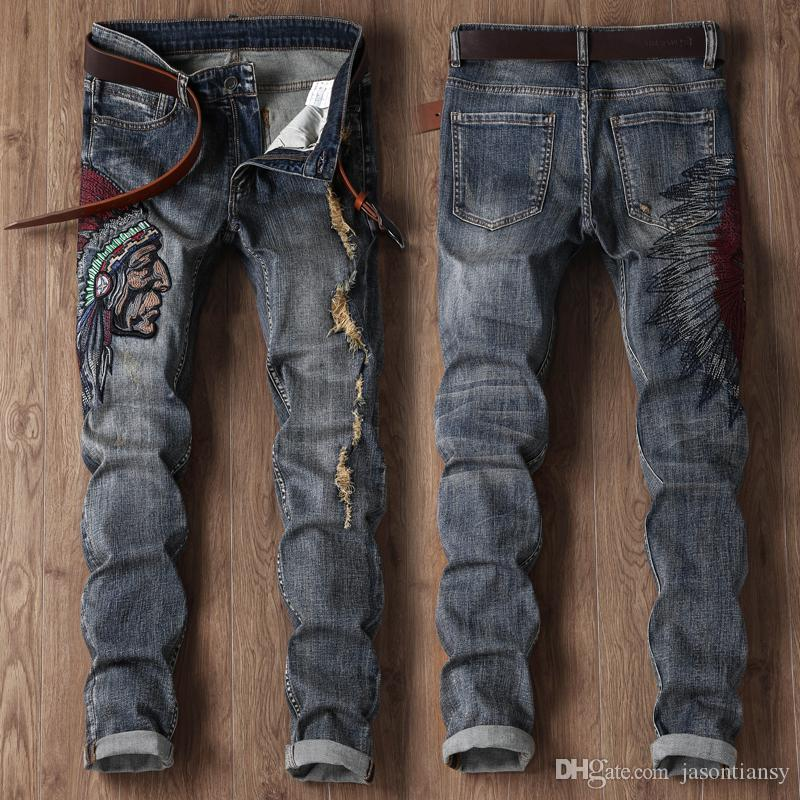 Hodisytian New Fashion Men Jeans Mid Denim Pants Slim Punk Embroidery Biker Jeans Straight Distressed Ripped Long Male Trousers