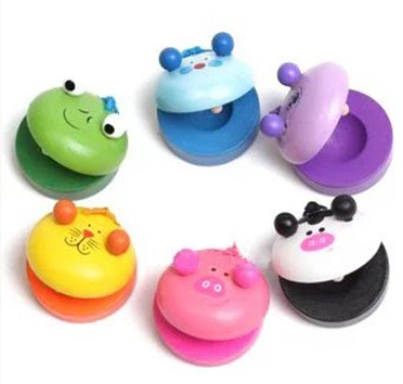 Children`s Animal Zoo Musical Percussion 2015 new frog Pig tiger Instrument Wooden Colorful Castanet Baby Educational Toys B001